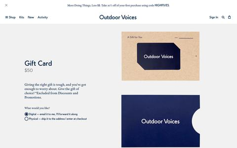 Gift Card – Outdoor Voices