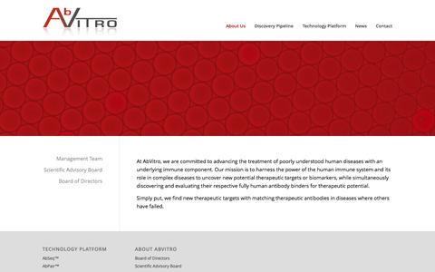 Screenshot of About Page abvitro.com - About Us - AbVitro - captured Nov. 2, 2014