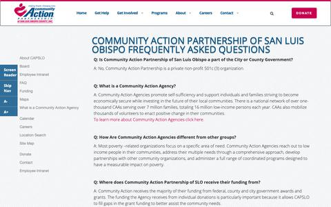 Screenshot of FAQ Page capslo.org - Community Action Partnership of San Luis Obispo Frequently Asked Questions - captured Sept. 29, 2018