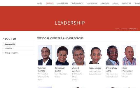 Screenshot of Team Page wescoal.com - Leadership - Wescoal - captured Oct. 19, 2018