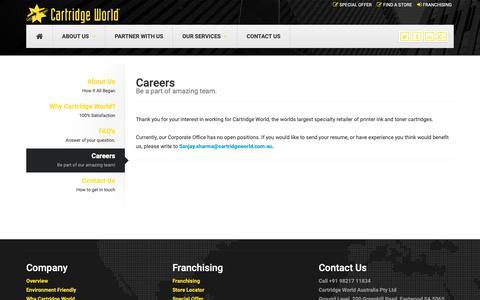 Screenshot of Jobs Page cartridgeworld.in - Careers | Cartridge World - captured Oct. 3, 2018