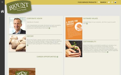 Screenshot of About Page blountfinefoods.com - Blount Fine Foods - ABOUT US - captured Oct. 18, 2019