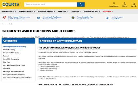 Screenshot of FAQ Page courts.com.sg - FAQ - captured Sept. 23, 2018