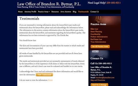 Screenshot of Testimonials Page bytnarlaw.com - Testimonials - Law Office of Brandon R. Bytnar, P.L. - captured Oct. 7, 2014