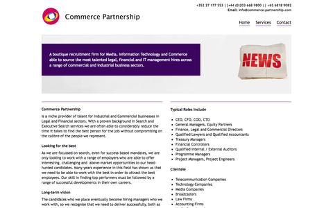 Screenshot of Home Page commerce-partnership.com - Media, IT & Telecoms | Commerce Partnership - captured Oct. 2, 2014