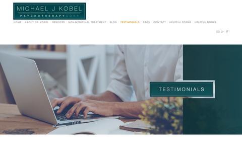 Screenshot of Testimonials Page drkobel.com - Testimonials — Michael J. Kobel, Ph.D. - captured April 10, 2017