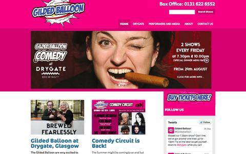 Screenshot of Home Page gildedballoon.co.uk - Gilded Balloon   Gilded Balloon home to the Edinburgh Fringe's legendary Late'n'Live - captured Sept. 30, 2014