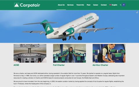 Screenshot of Home Page carpatair.com - Carpatair | ACMI, Full CHarters, Ad-Hoc Charters | Quality & Professional Flight Services - captured July 19, 2015