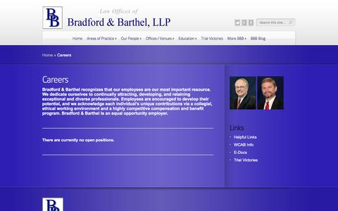 Screenshot of Jobs Page bradfordbarthel.com - Careers | Law Offices of - captured July 30, 2016