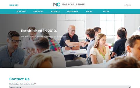 Screenshot of Contact Page masschallenge.org - Contact | MassChallenge - captured Aug. 8, 2019