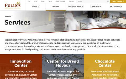Screenshot of Services Page puratos.com - Services - Puratos - captured Sept. 30, 2018