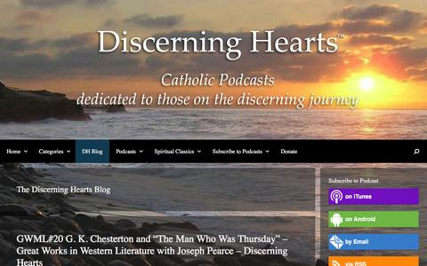 Screenshot of Blog discerninghearts.com - The Discerning Hearts Blog Archives - Discerning Hearts Catholic Podcasts - captured April 24, 2016