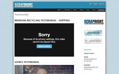 Screenshot of Testimonials Page scrapright.com - ScrapRight Testimonial Videos - captured Oct. 6, 2017