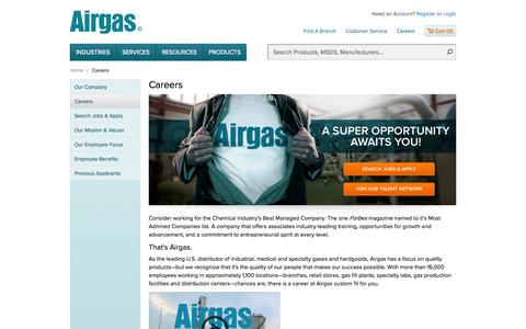 Screenshot of Jobs Page airgas.com - Careers | Airgas - captured Oct. 31, 2014