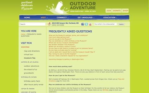 Screenshot of FAQ Page portlandcm.org - FREQUENTLY ASKED QUESTIONS | Portland Children's Museum - captured Oct. 8, 2014