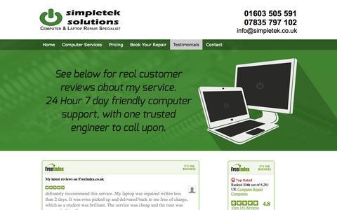 Screenshot of Testimonials Page simpletek.co.uk - Check out simpletek solutions' reviews - real customer testimonials - captured Oct. 7, 2014