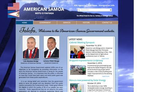 Screenshot of Home Page americansamoa.gov - american samoa - captured Nov. 20, 2016