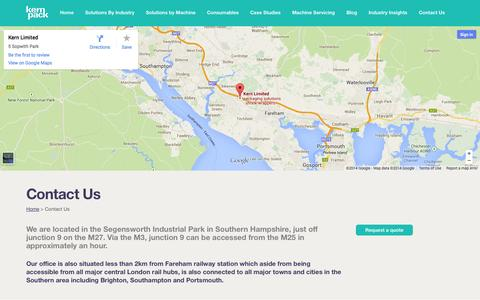 Screenshot of Contact Page kernpack.co.uk - Contact KernPack for packaging solutions and systems - captured Oct. 9, 2014