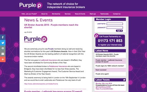 Screenshot of Press Page purplepartnership.com - News & Events - A network for independent insurance brokers - Purple Partnership - captured July 19, 2016