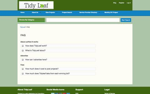 Screenshot of FAQ Page tidyleaf.com - Frequently Asked Questions - captured Oct. 7, 2014