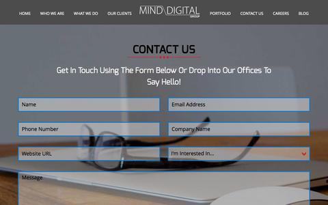 Screenshot of Contact Page minddigital.com - Contact Us, Mind Digital Group - captured Oct. 26, 2014