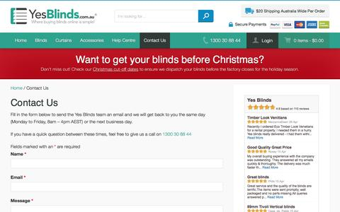 Screenshot of Contact Page yesblinds.com.au - Contact Us   Yes Blinds - captured Nov. 17, 2016
