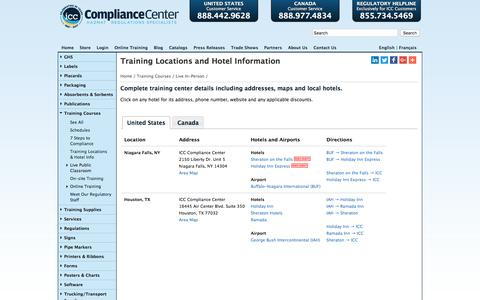 Screenshot of Locations Page thecompliancecenter.com - ICC -> Training Courses -> Locations - captured Jan. 30, 2018