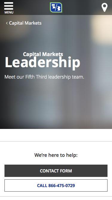 Screenshot of Team Page  53.com - Capital Markets Leadership Team | Fifth Third Bank