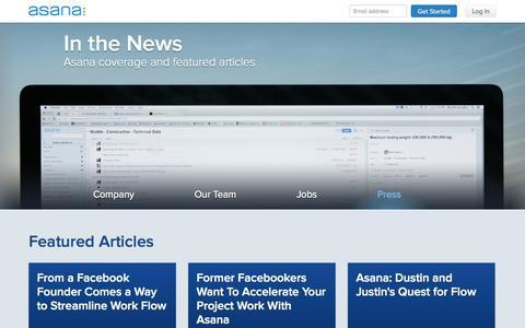Screenshot of Press Page asana.com - Asana  · Press - captured Sept. 13, 2014
