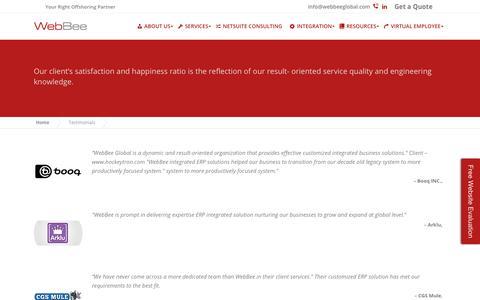 Screenshot of Testimonials Page webbeeglobal.com - Testimonials - WebBee Global - captured Oct. 27, 2017
