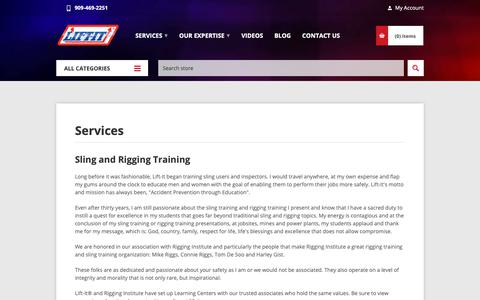 Screenshot of Services Page lift-it.com - Services | Sling and Rigging Training | Sling and Rigging Inspections | Lift-It® Manufacturing - captured Nov. 2, 2018