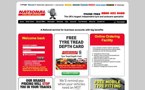 Screenshot of Login Page national.co.uk - National Tyres and Autocare - Business Accounts - captured Feb. 1, 2016
