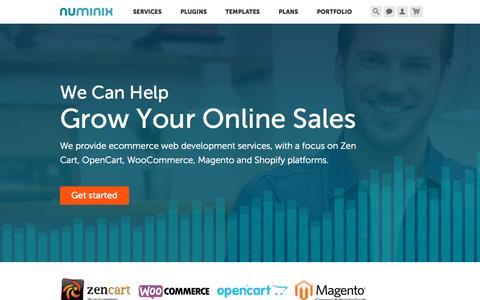 Screenshot of Home Page numinix.com - Ecommerce Web Development - captured Oct. 1, 2015