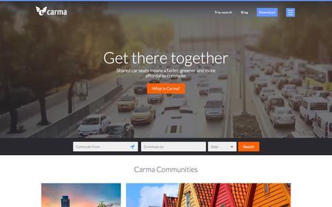Screenshot of Home Page carmacarpool.com - Carma Carpooling - your commuting rideshare companion - captured July 3, 2015
