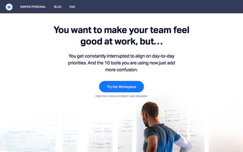 Screenshot of Home Page swipesapp.com - - Collaboration tools for high-achieving teams. - captured Oct. 21, 2017