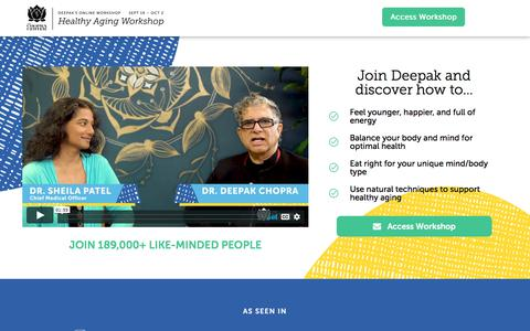 Screenshot of Signup Page chopra.com - [Free Workshop] Healthy Aging with Deepak Chopra - captured Sept. 21, 2019