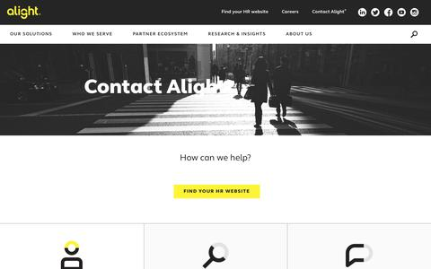 Screenshot of Contact Page alight.com - Contact Us | Alight - captured July 1, 2019