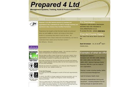 Screenshot of Home Page prepared-4.co.uk - Prepared 4 Ltd - Home - captured Oct. 8, 2014