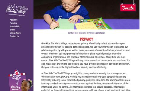 Screenshot of Privacy Page gktw.org - About Us | Give Kids The World Village | Top-Rated Charity - captured Feb. 13, 2016