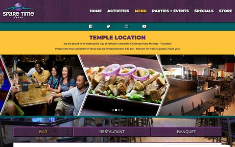 Screenshot of Menu Page sparetimetexas.com - Dine | Eat and Drink at Shakers Bar + Grill - captured Oct. 18, 2018