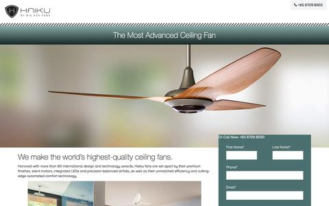 Screenshot of Landing Page bigassfans.com - Modern Designer Ceiling Fans | Haiku Home - captured Oct. 25, 2017