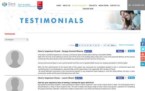 Screenshot of Testimonials Page gera.in - Gera Testimonial By Customers - captured Jan. 11, 2019