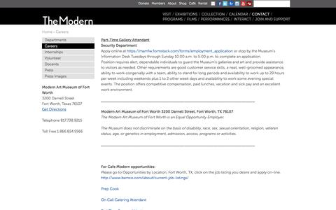 Screenshot of Jobs Page themodern.org - Careers | Modern Art Museum of Fort Worth - captured March 20, 2018