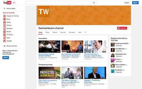 Screenshot of YouTube Page youtube.com - Teamworksas's channel  - YouTube - captured Oct. 26, 2014