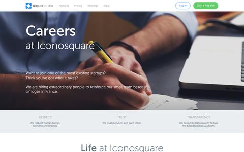 Screenshot of Jobs Page iconosquare.com - Jobs at Iconosquare, leading analytics and marketing for Instagram - captured Aug. 19, 2016