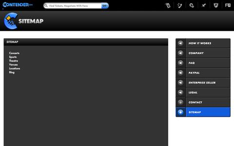 Screenshot of Site Map Page contender.com - Sitemap   Contender.com - captured Oct. 10, 2014