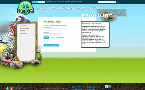 Screenshot of Login Page coloradolottery.com - MYLOTTERY :: COLORADO LOTTERY - captured Sept. 24, 2014