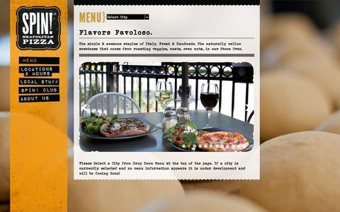 Screenshot of Menu Page spinpizza.com - Menu | SPIN! Pizza - captured Sept. 23, 2014