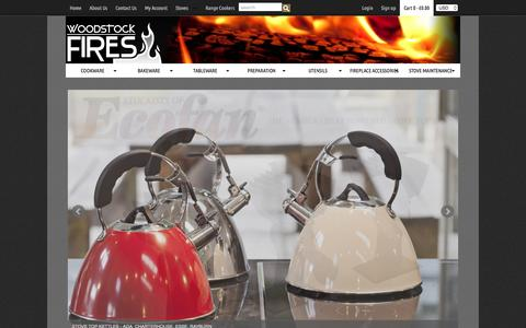 Screenshot of Home Page woodstockfires.co.uk - Woodstock Fires — Stoves & Range Cookers | Quality Cookware & Fireplace Accessories - captured July 6, 2016