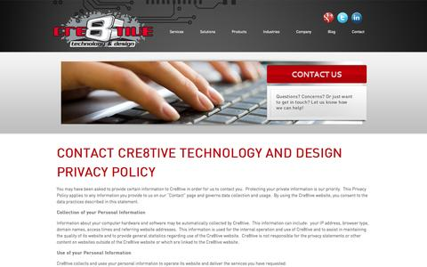 Screenshot of Privacy Page ctnd.com - Contact Cre8tive Technology & Design Privacy Policy | Cre8tive Technology & Design - captured Sept. 19, 2014